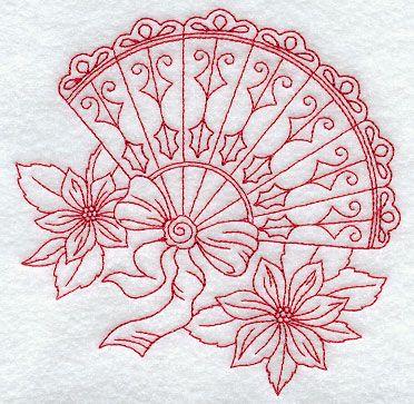 colour it, sew it, trace it, etc. Victorian Fan with Poinsettias (Redwork)