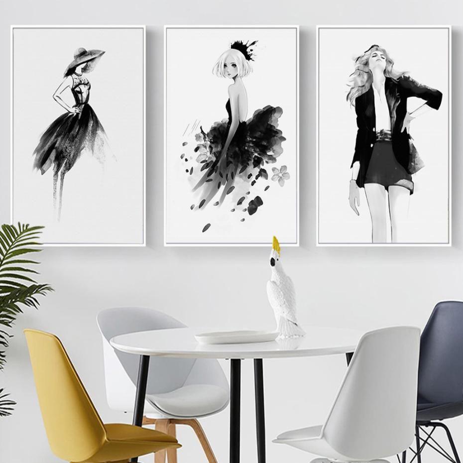 Modern Black White Fashion Posters Stylish Catwalk Models Salon Art Fashion Wall Art White Painting Black And White Painting