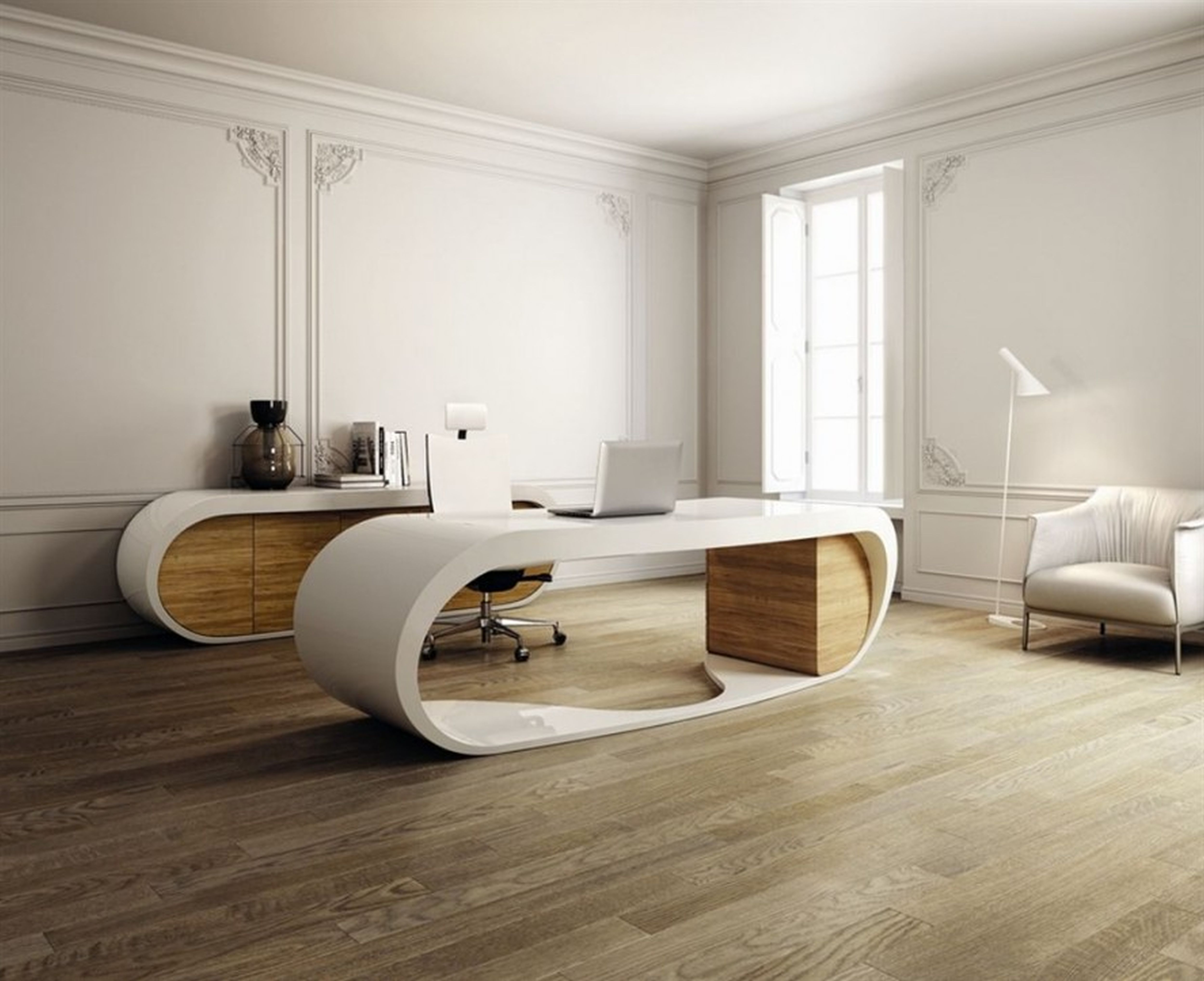 Home interior wooden floor unique office desk modern for Interior design furniture