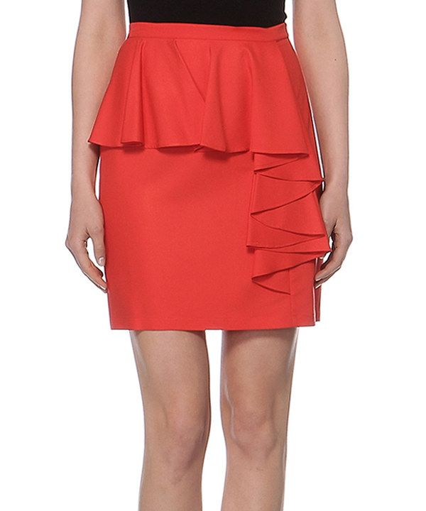 Look at this Elfe Coral Asymmetric Peplum Skirt on #zulily today!