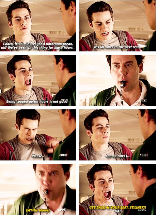 Teen Wolf - Stiles & Coach, everyone has had that teacher hahaha I love how they fight like siblings and how the couch blows his whistle before he can finish every sentence!