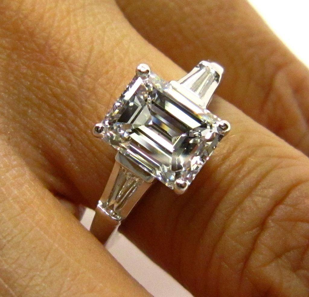 3.01ct Estate Vintage Emerald Cut Diamond with 2 Baguettes