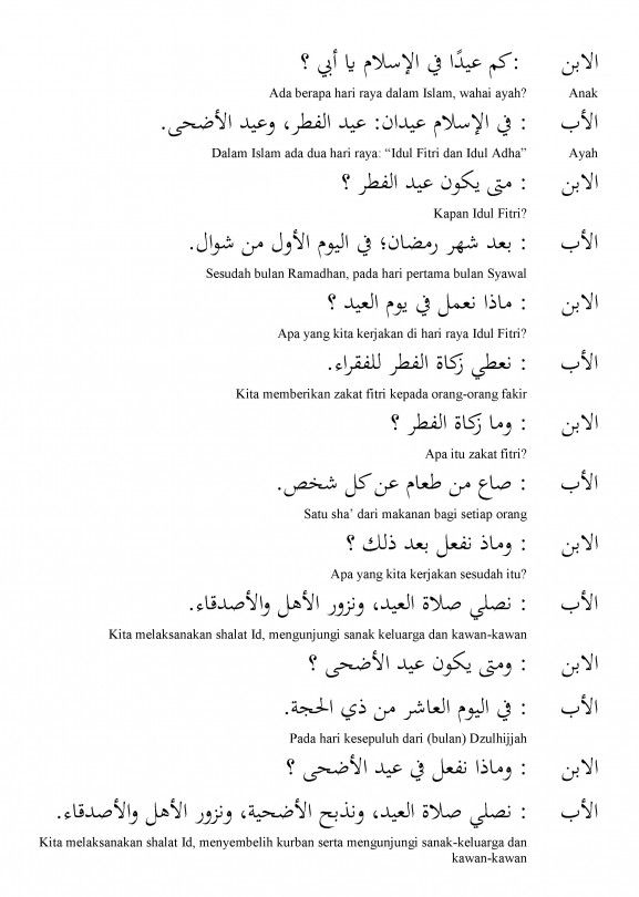 Percakapan Bahasa Arab Tentang Hari Raya Iedul Fitri Iedul Adha