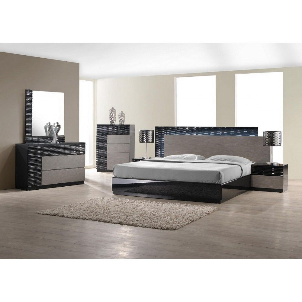 Best Roma Black And Grey Lacquer 5 Pc Bedroom Set By J M 640 x 480