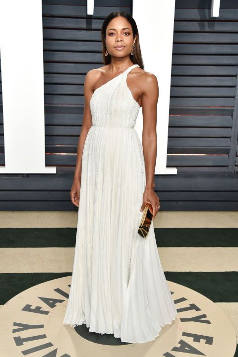 Naomie Harris looked like a Greek goddess in a white one-shoulder gown at the Vanity Fair Oscar Party.