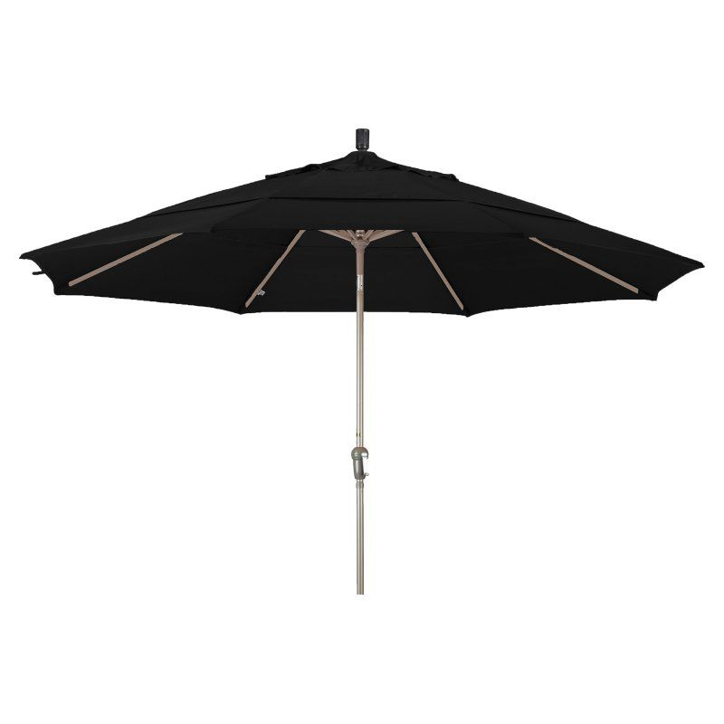 California Umbrella 11 Ft Aluminum Auto Tilt Patio Umbrella Sunbrella Black Sdau118117 5408 Dwv Market Umbrella Patio Umbrellas Patio