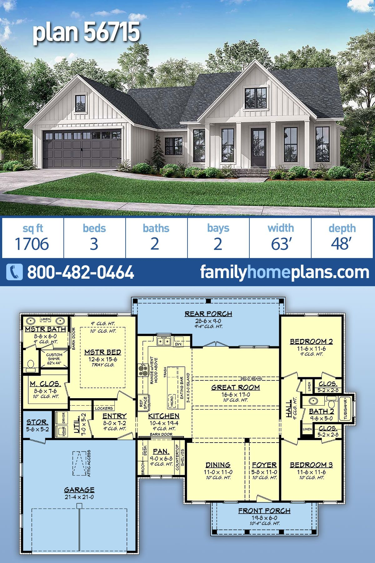 Traditional Style House Plan 56715 With 3 Bed 2 Bath 2 Car Garage Country House Plans House Plans Farmhouse House Layout Plans