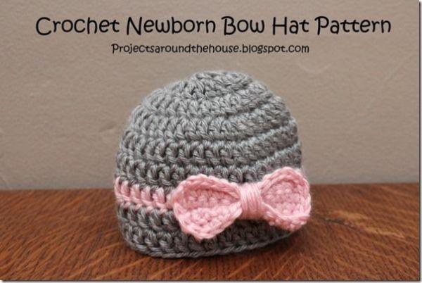 Crochet Newborn Easy Bow Hat Free Pattern By Deeannbraska