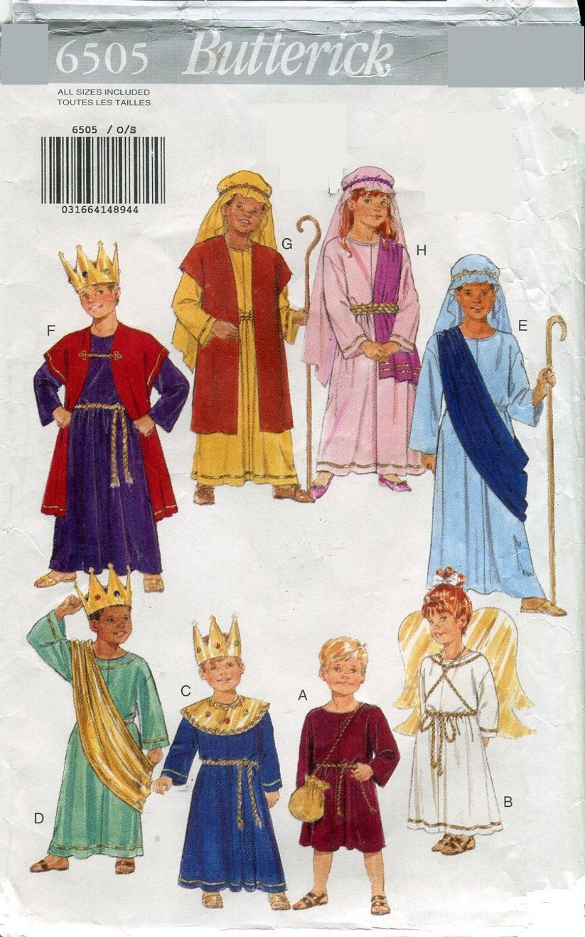 1990s butterick 6505 childs nativity costume sewing pattern boys 1990s butterick 6505 childs nativity costume sewing pattern boys girls size 4 to 14 by pengypatterns jeuxipadfo Images
