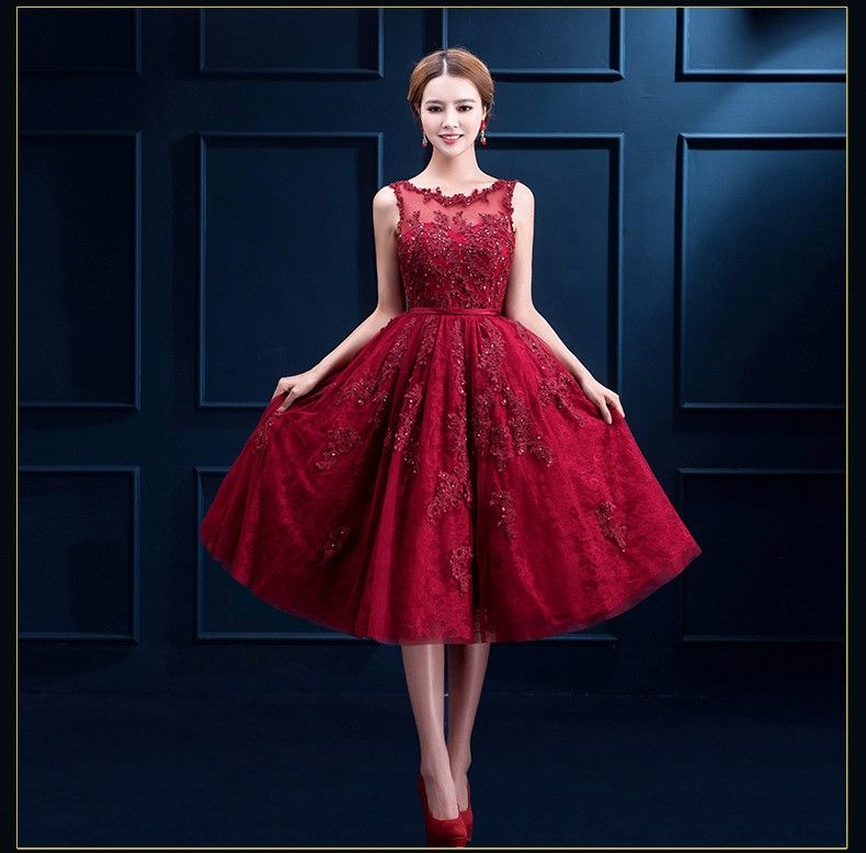 Wine Red Neckline Lace A-Line Tea-Length Gown Tulle Lace