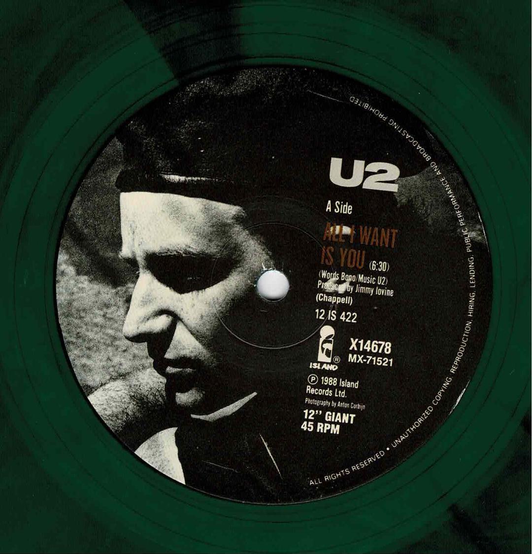 U2 All I Want Is You 12 Australian Only Green Vinyl Festival