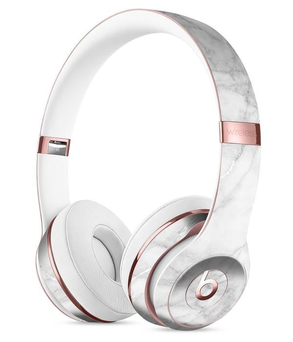 White Scratched Marble Full-Body Skin Kit for the Beats by Dre Solo 3  Wireless Headphones f50f25a9f