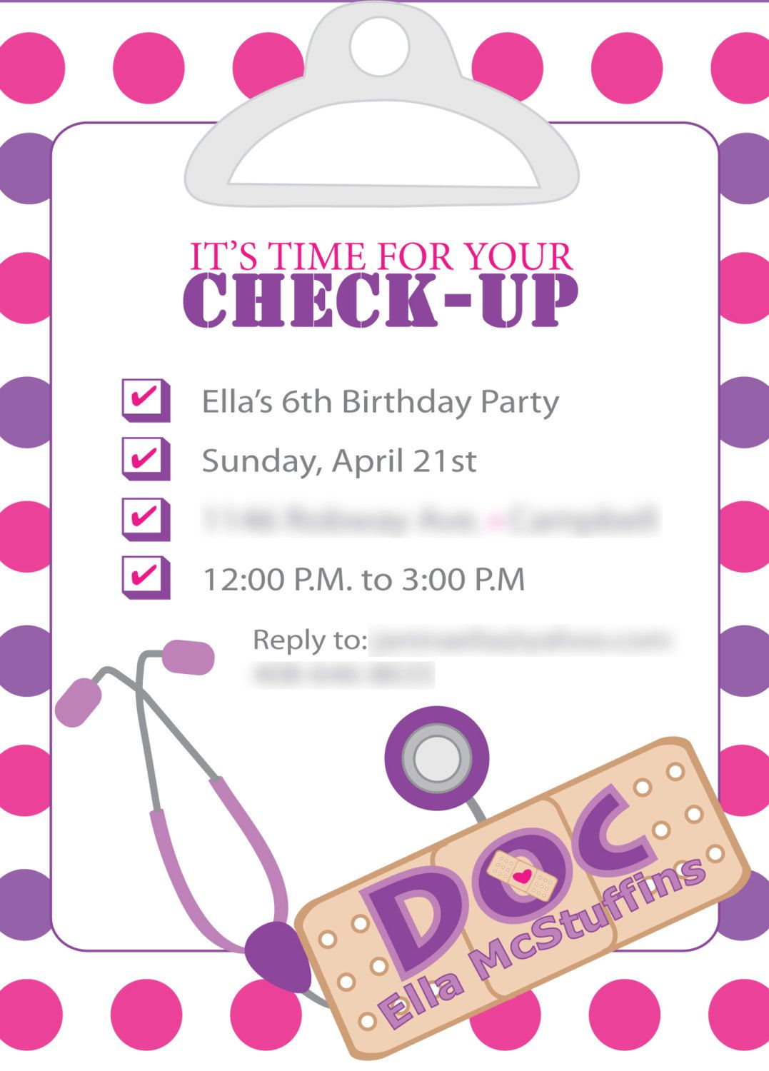 Doc Mcstuffins Inspired Birthday Invites Template Only Diy Print 15 00 Via Etsy