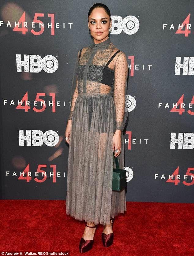 2860491d320 Tessa Thompson stuns in see-through dress at Fahrenheit 451 premiere ...