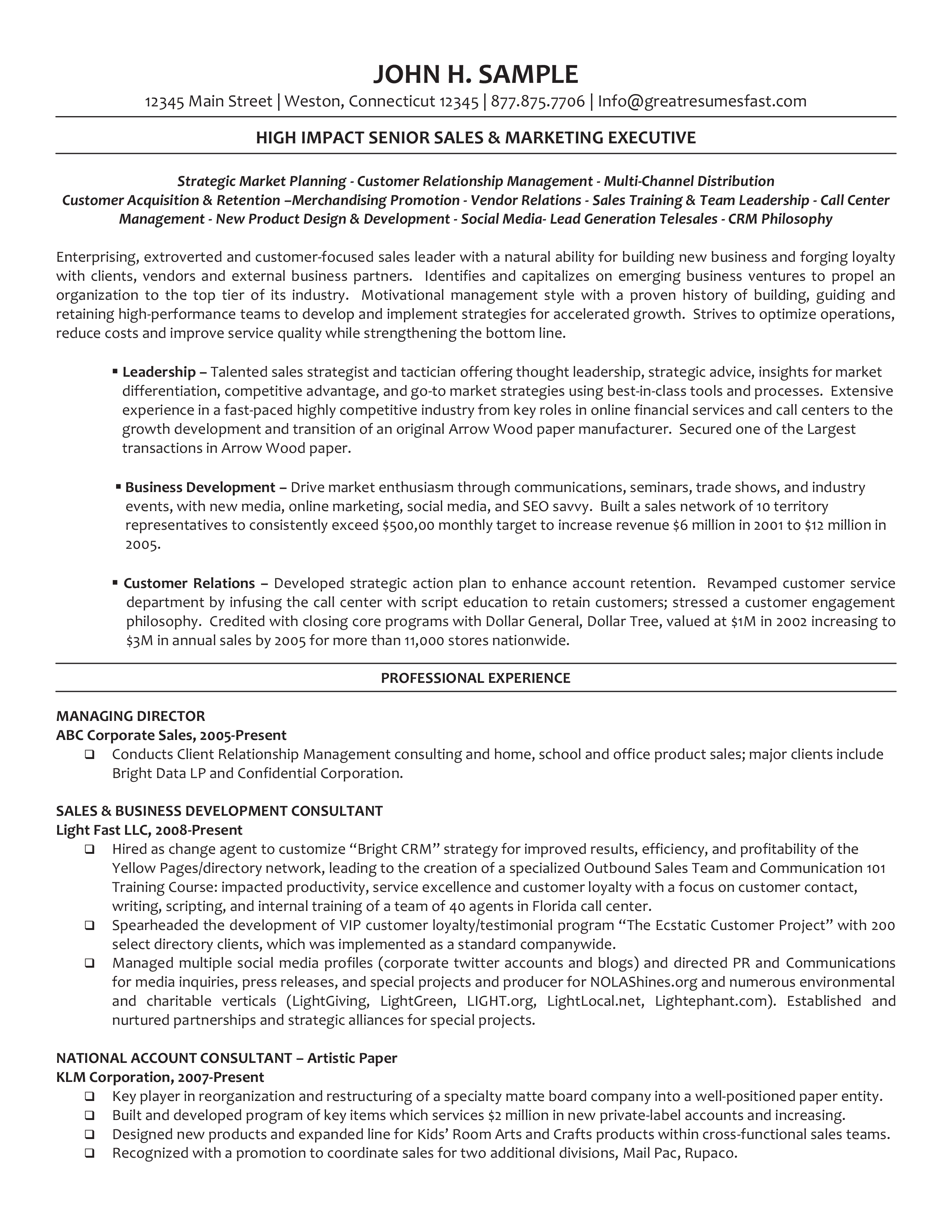executive managing director resume