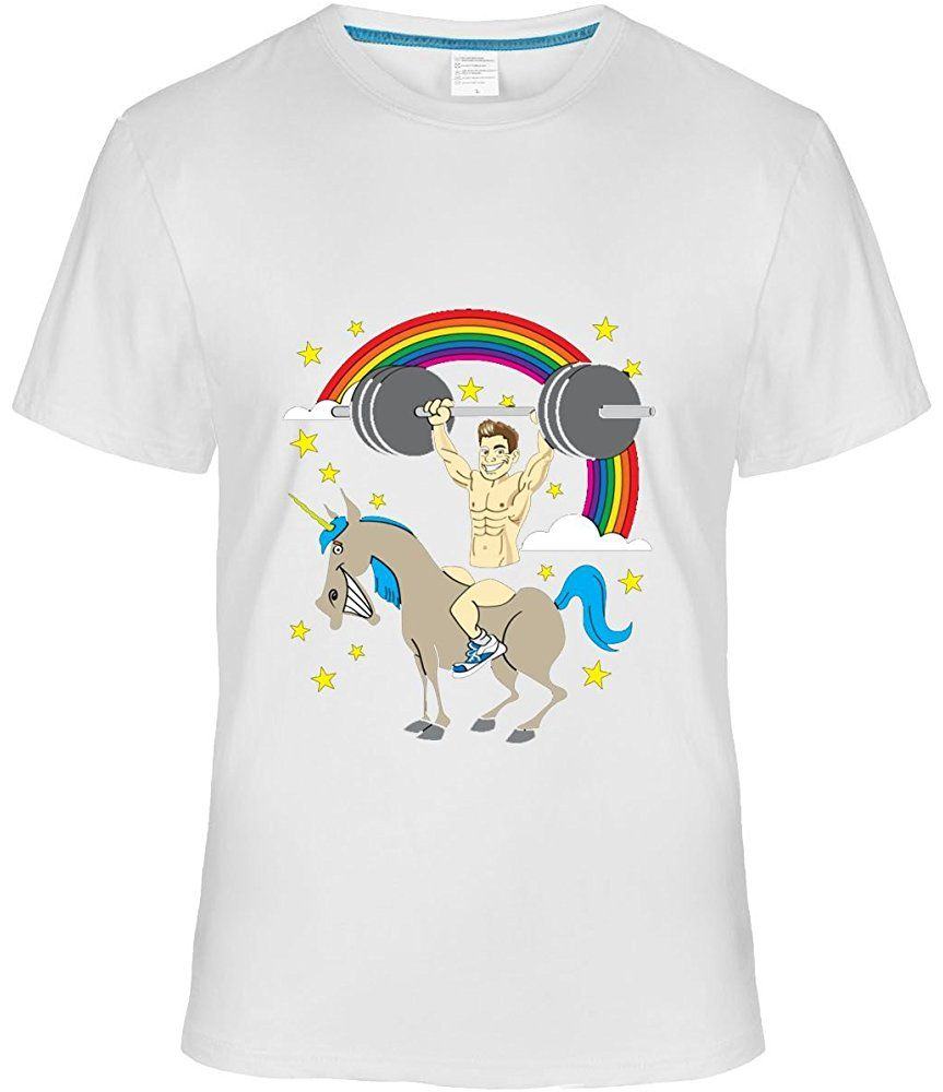 f72c1ce6 Fatal Decision Mens Manly Unicorn Design T Shirt Short Sleeve Tees white