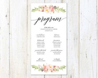 floral watercolor wedding program romantic wedding program rustic