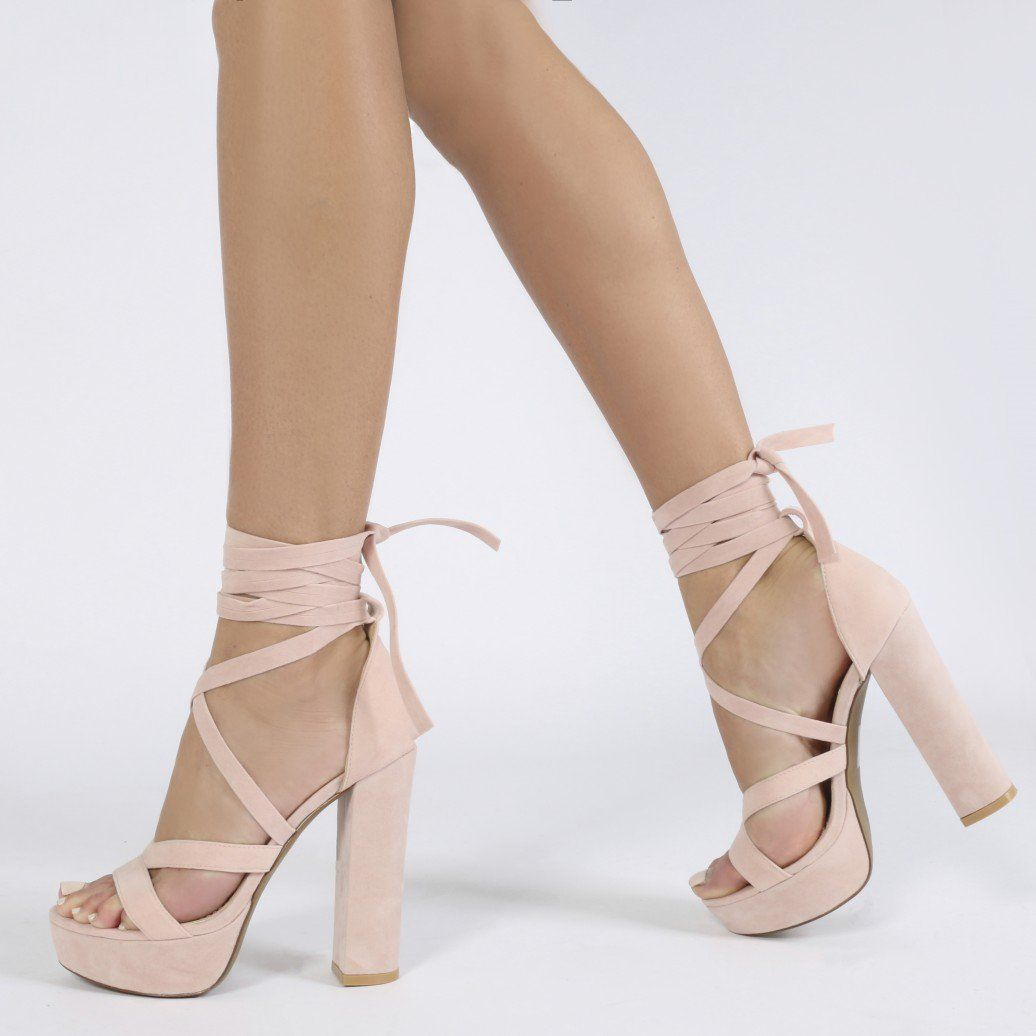 b5b5976177f Stella Lace Up Heels in Nude Faux Suede in 2019