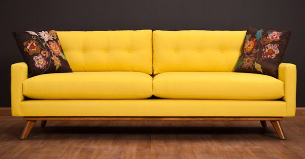 Classic Couch Retro Couch Retro Sofa Yellow Sofa
