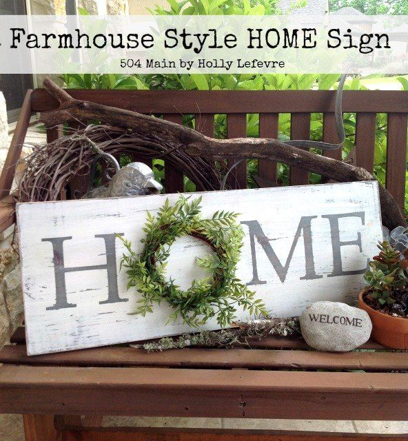 Photo of Farmhouse Style Inspired HOME Sign