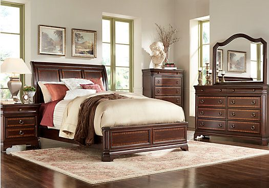 Cortera Cherry 5 Pc King Panel Bedroom Master And Guest Bedroom