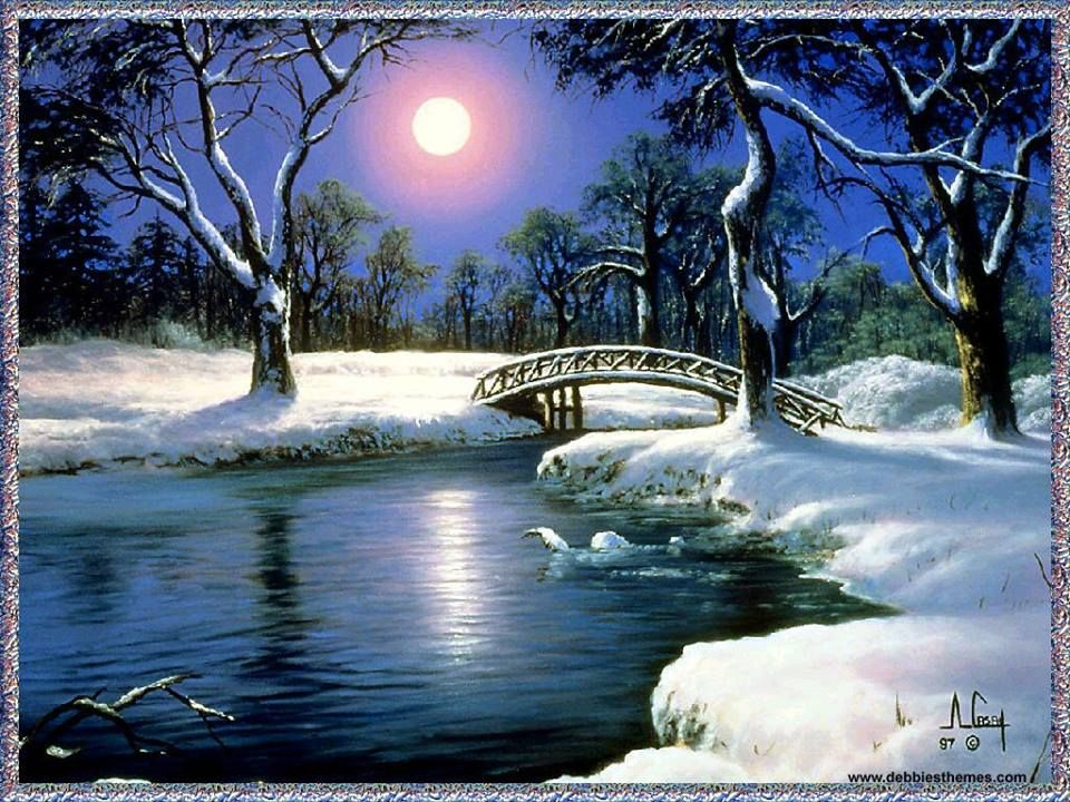 A peaceful wintry night to celebrate the holidays! #winter #moonlight #EllenRothAuthor