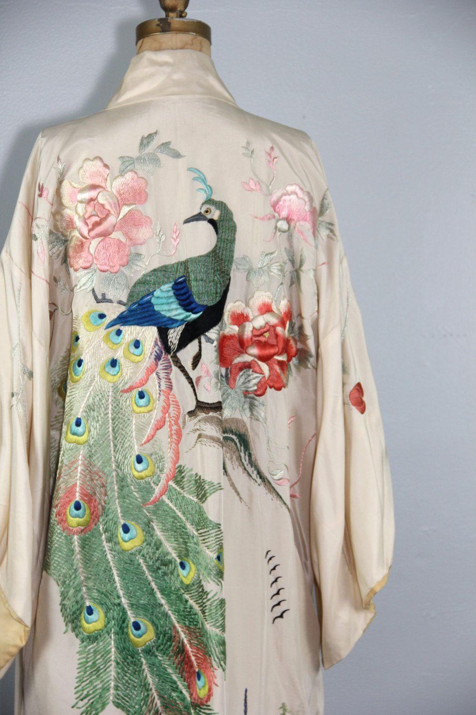 6434ed53ef22 1920s silk robe   antique kimono   embroidered   PEACOCK vintage ...