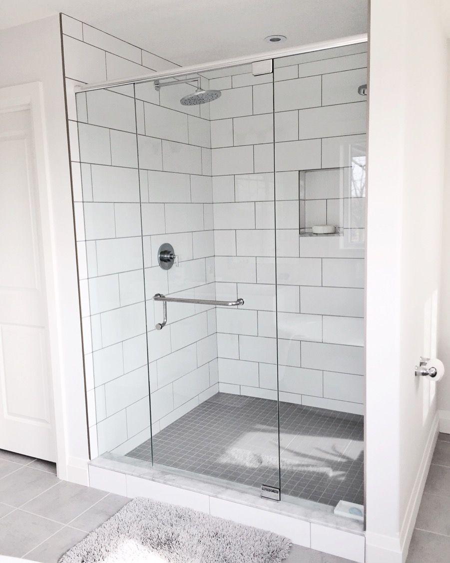 Glass Shower Large Shower White Bathroom White Tile In Bathroom