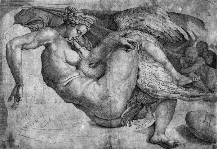 Cornelis bos after michelangelo drawing leda and the swan