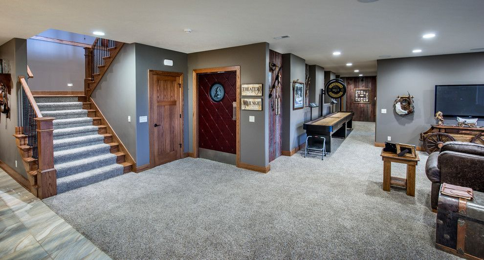 Grey Carpet And Walls Basement Colors Natural Wood Trim Home Decor Bedroom
