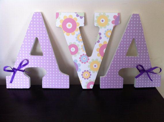 Purple Flowers Wooden Letters, Nursery Letters, Wall Decor, Girls ...