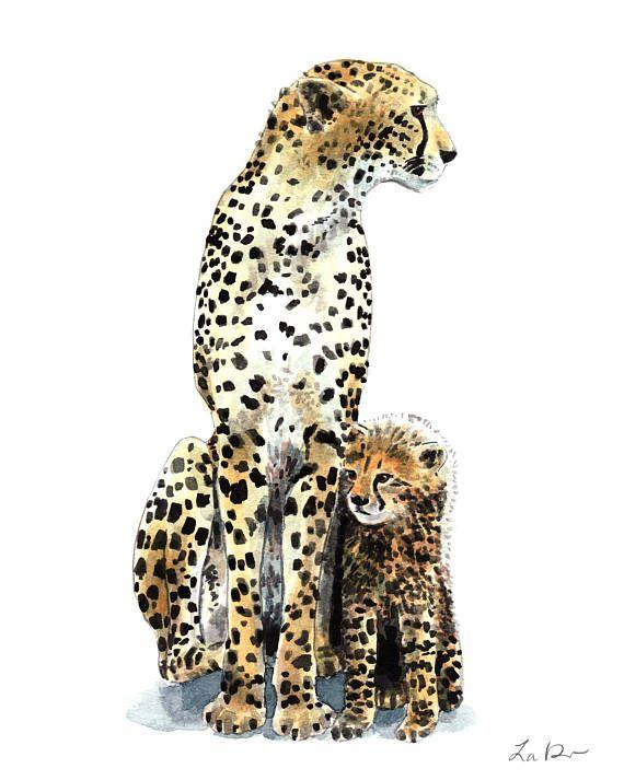 Cheetah Art Print Watercolor Painting Wall Home Decor Mom and Baby ...