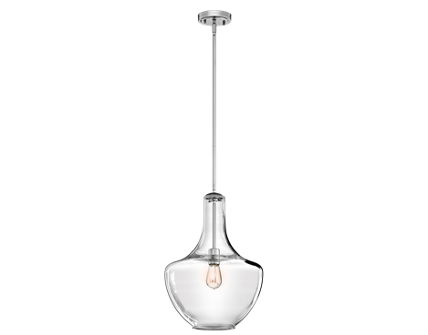 Kichler everly 1 light chrome 42046ch pendant lighting kichler lighting pendant