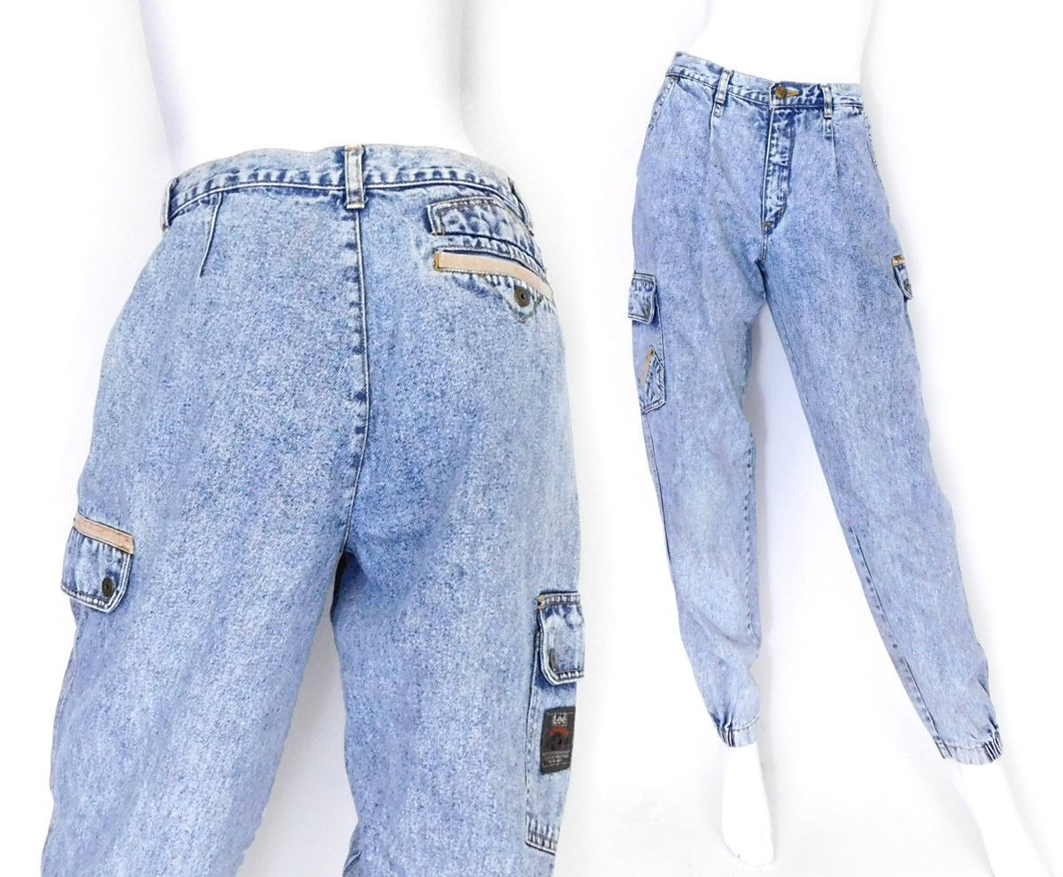 80s Men's Acid Wash Lee Airgear Jeans -30 x 30.5 Vintage High Waisted Baggy Pleated Tapered Leg Hip Hop Style Jeans - Baggy Boyfriend Jeans