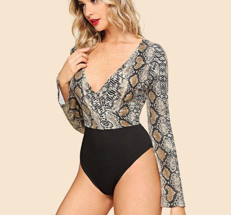0b4874654e86 Snakeskin Print Sexy Bodysuit Deep V Neck Long Sleeve Women Jumpsuit ...