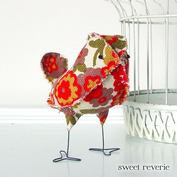 Myra the Soft Sculpture Textile Fabric Bird by asweetreverie, $22.00