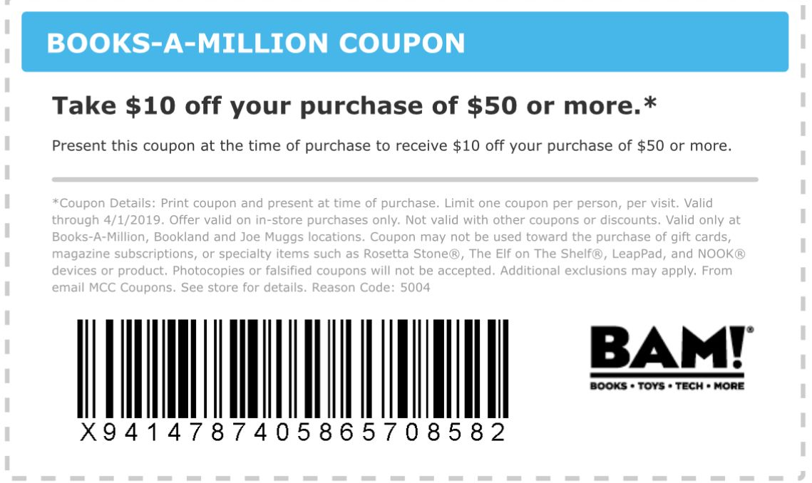 photo about Books a Million Printable Coupon identified as Guides A Million Coupon: $10 Off $50+ Printable Discount codes