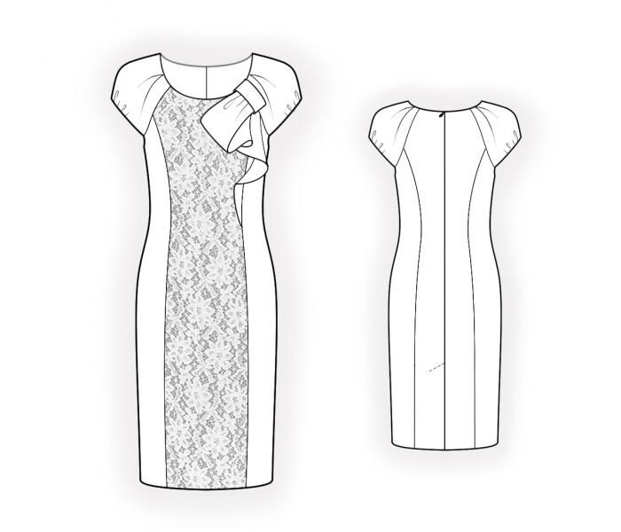 Dress With Lacy Inset - Sewing Pattern #4401. Made-to-measure sewing ...