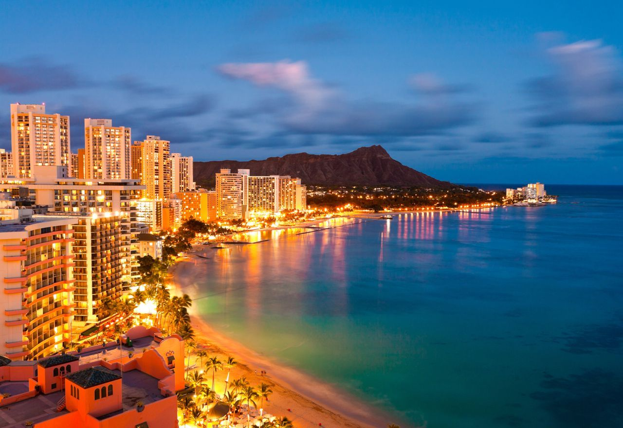 Honolulu! That's Diamond head volcano in the background