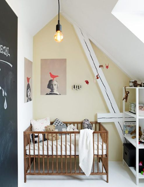 Love the print on the wall the chalkboard wall the square cot and the eclectic cushions #kids #room
