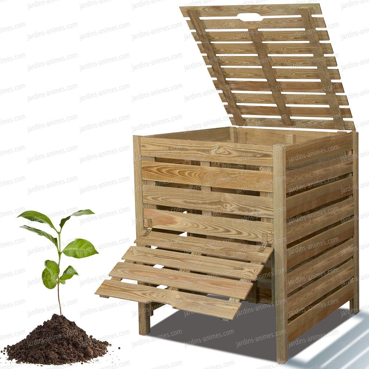 composteur bois 800l en pin trait branchage engrais et feuilles mortes. Black Bedroom Furniture Sets. Home Design Ideas