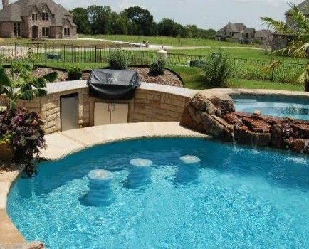 Sunken Outdoor Bbq Area With Grill And Refrigerator Swim Up Bar Stools Set Into