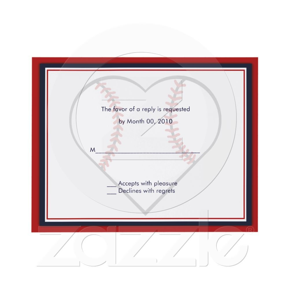 Baseball Wedding Invitation reply cards (With