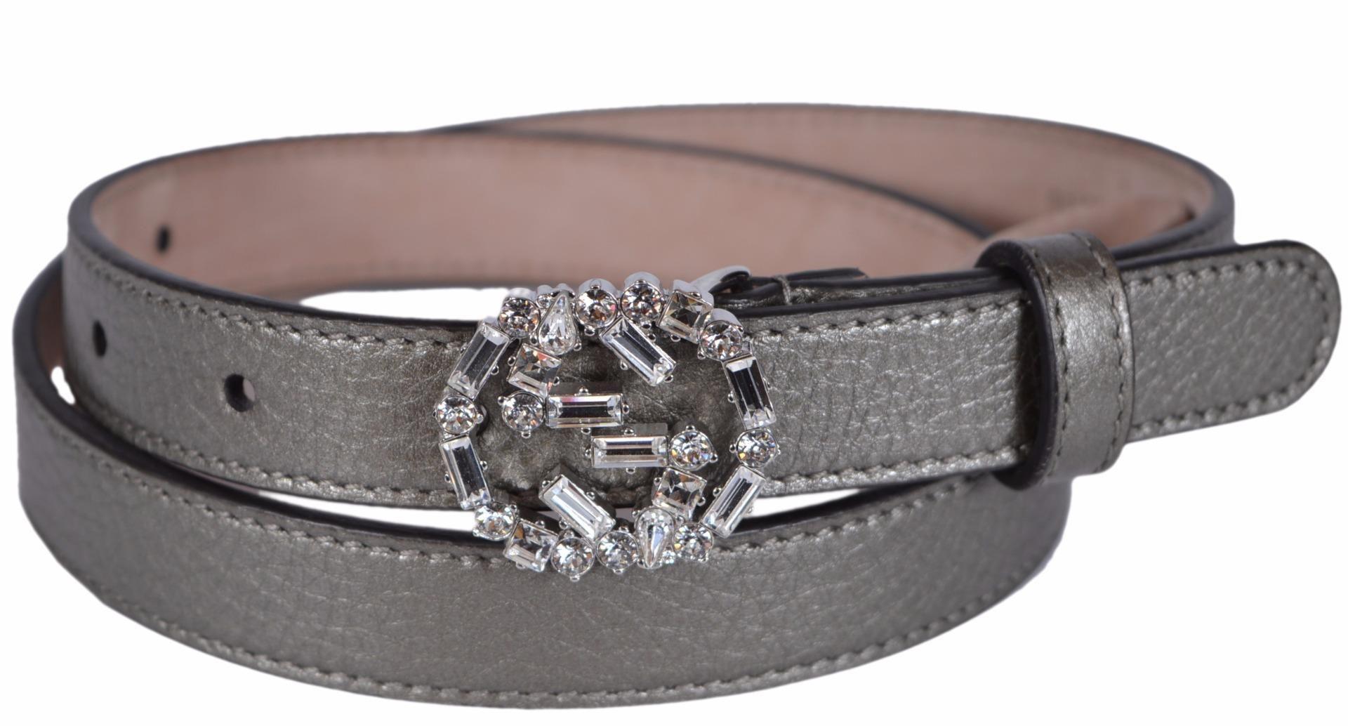 9b760878e17 New Gucci Women s Metallic Grey Leather Swarovski Crystal Belt 105 42. Free  shipping and guaranteed authenticity on New Gucci Women s Metallic Grey  Leather ...