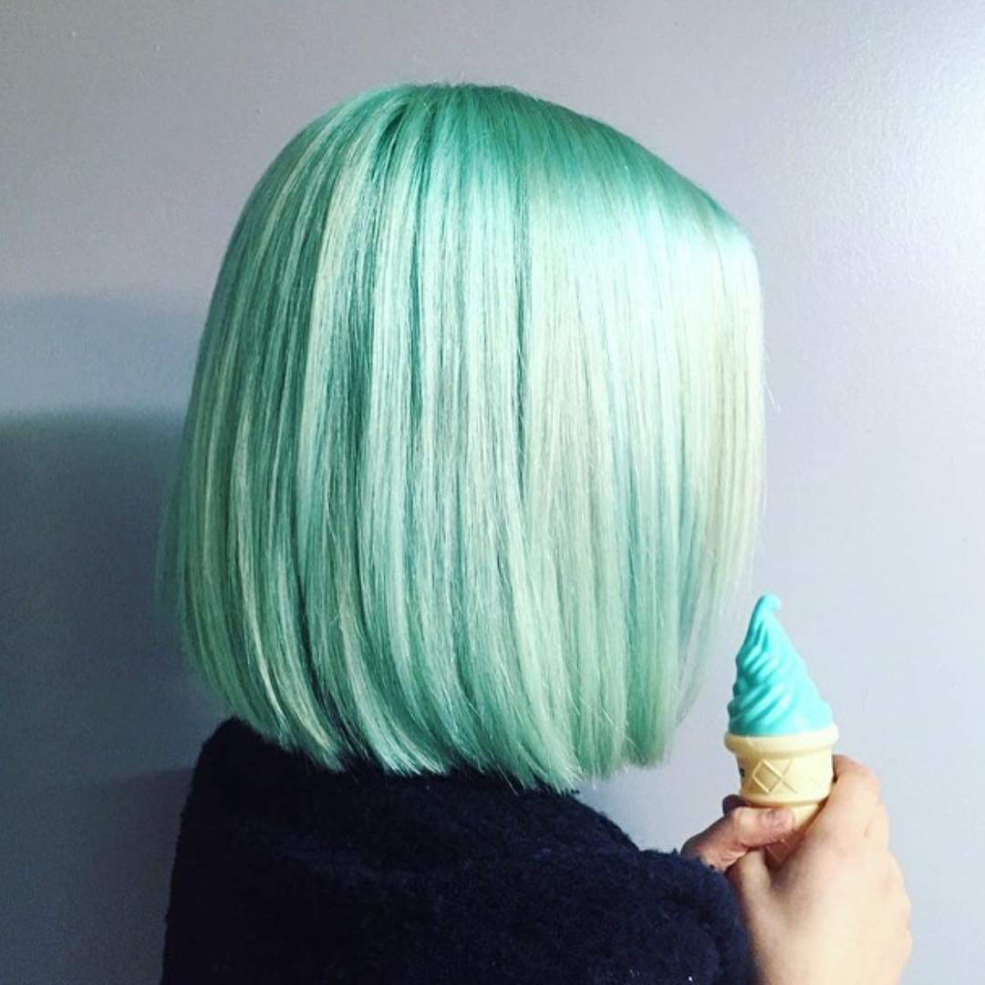 Pastel Mint Green Stick-Straight Long Bob | Green Hairstyles ...