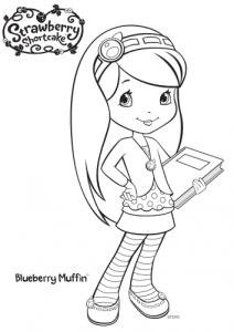 Strawberry Shortcake Blueberry Muffin Coloring Page