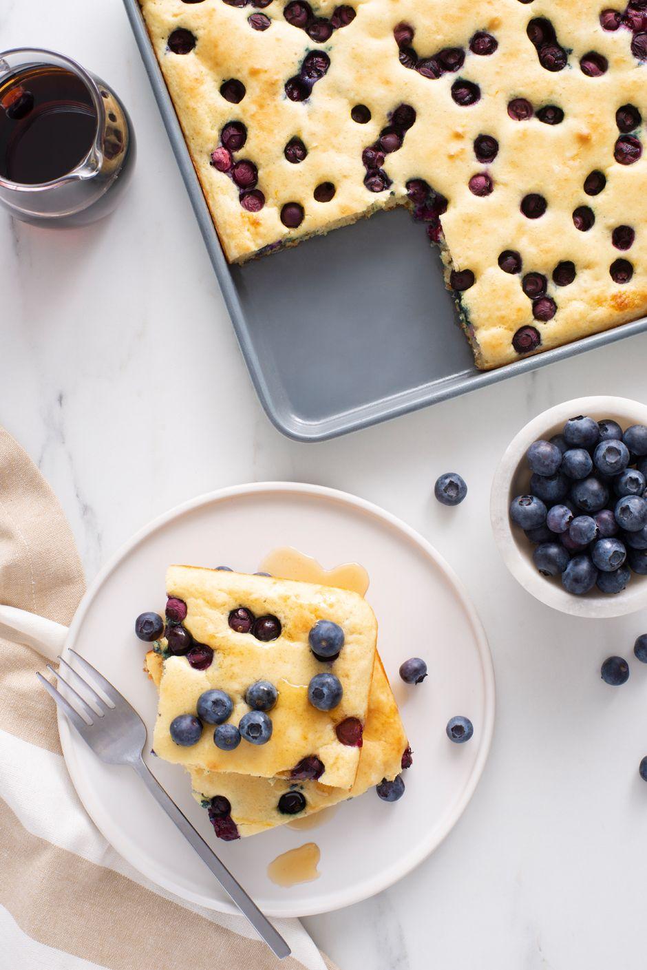 Sheet Pan Blueberry Pancakes Recipe in 2020 Blueberry