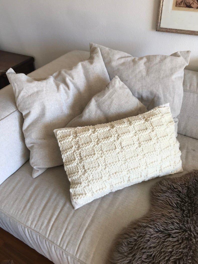 Bauernleinen Kissen Mit Vorderseite Aus Naturbelassener Wolle