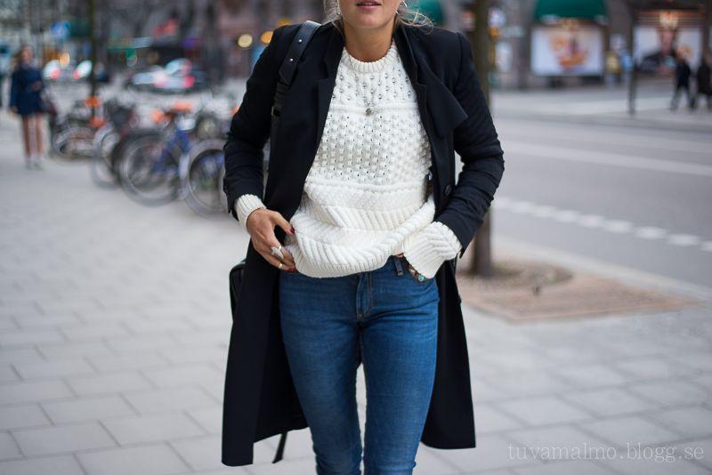 coat, sweater, jeans