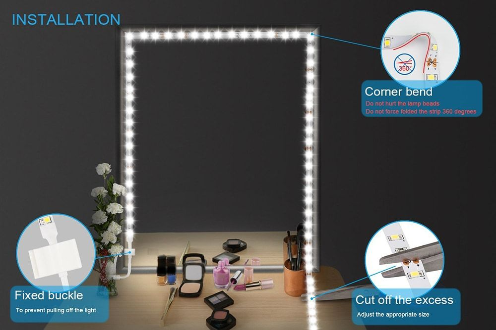 Led Vanity Mirror Light Kit With Dimmer And Power For Makeup Dressing Table Set Mirror With Lights Vanity Mirror Best Vanity Mirror
